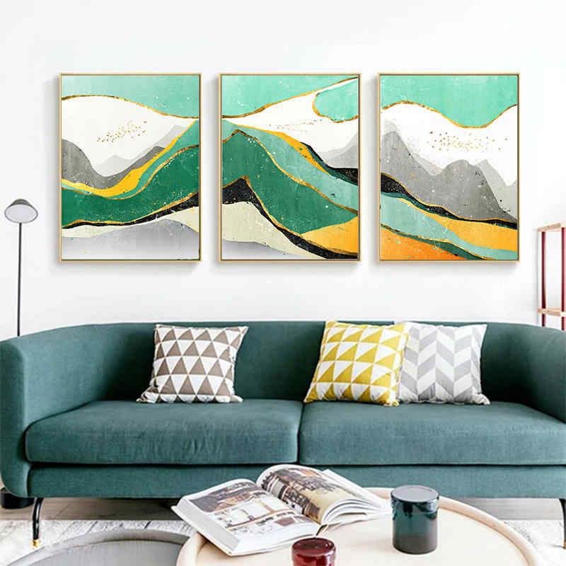 ジオメトリ石のパターン北欧ポスター瑪瑙壁アートキャンバス絵画ポスター写真家の寝室の装飾プリント国連