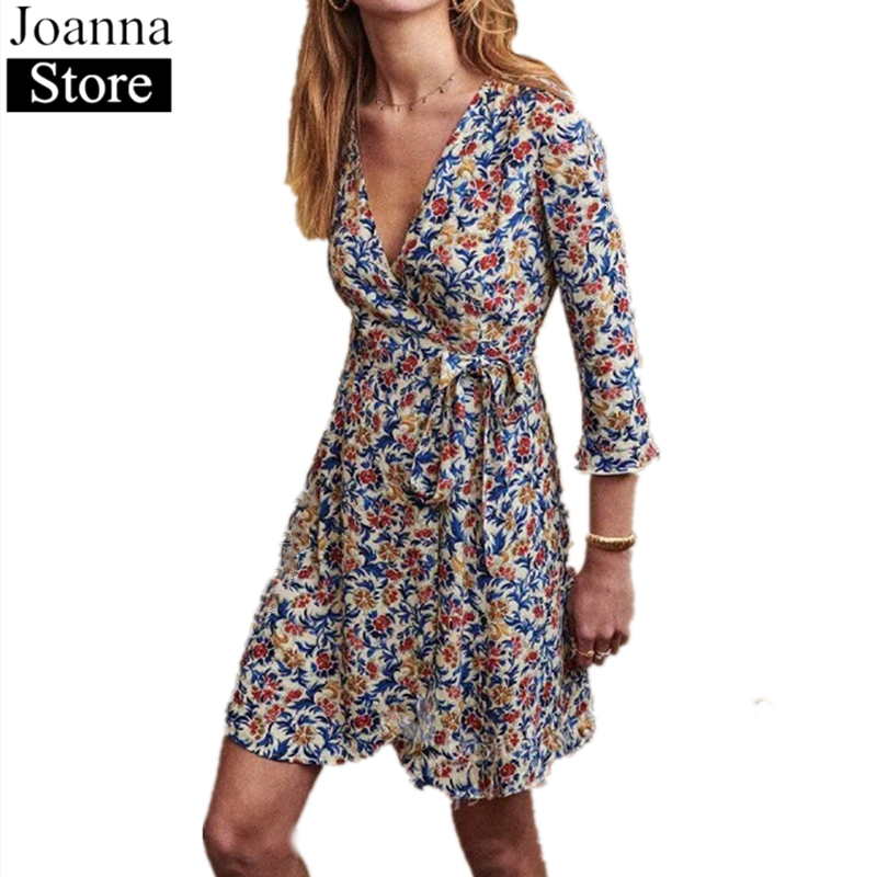 Summer New Printing Mini Dress Women V-Neck Seven Point Ruffle Sleeve Belted Dresses Vintage Elegant Romantic Plus Size Clothes