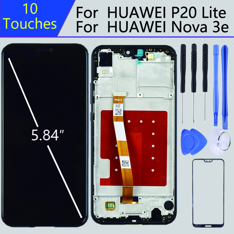 For 5.84 Inch pantalla huawei P20 lite lcd With Frame For HUAWEI P20 Lite Display ANE-LX1 ANE-LX3 Nova 3e Touch screen digitizer