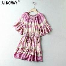 Vintage Chic women hippie  floral print  sashes elestic waist Bohemian mini dress  ladies flare sleeve  Boho dresses vestidos