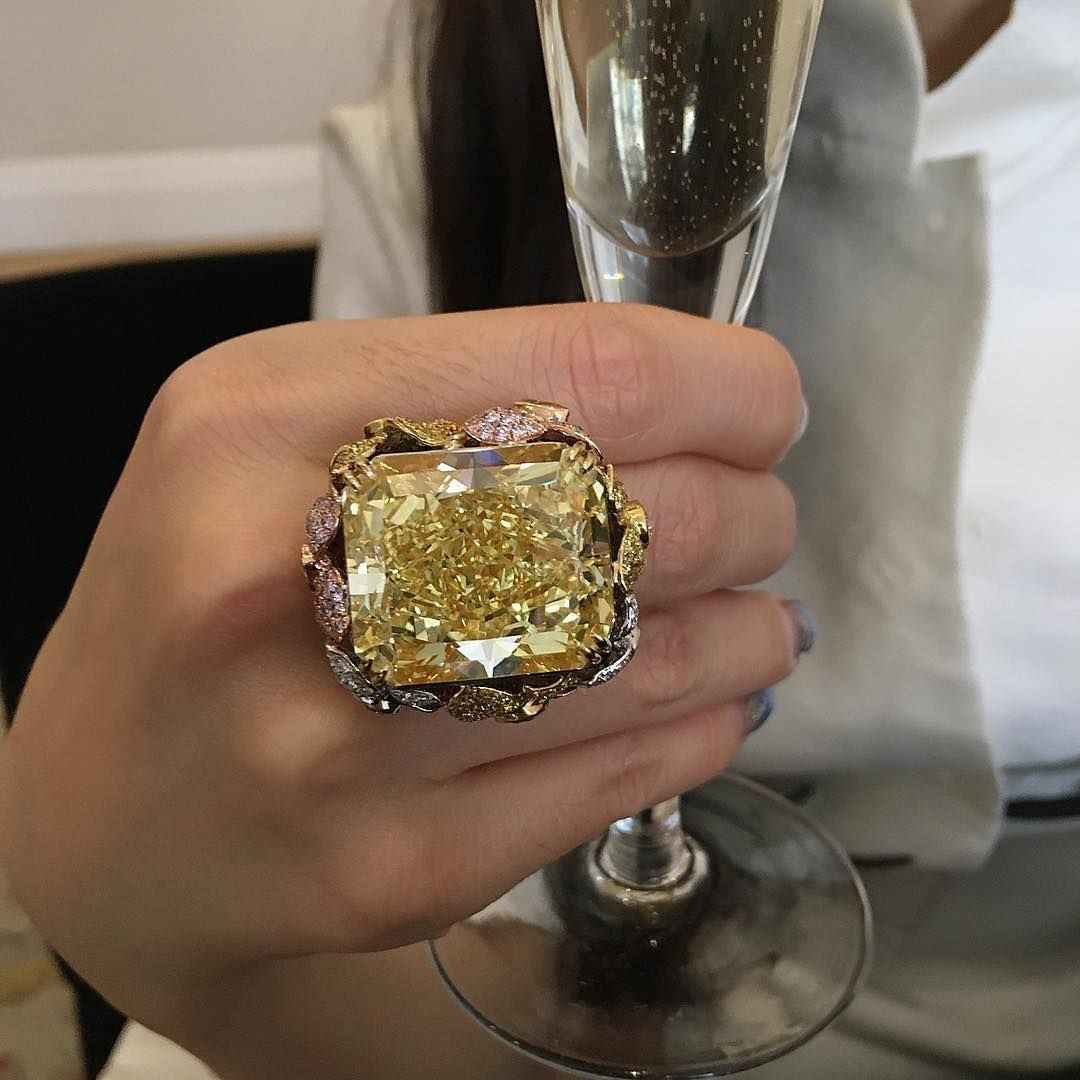 Luxury Women Exaggerated Big Square Cut Champagne Zircon Gold Color Ring Anniversary Engagement Cocktail Party Rings Jewelry