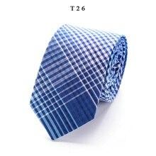 Men's Stripe Cotton Ties For Men Classic Silm 6cm Necktie Blue Gray Cravate Neckties Wedding Party Shirt Formal Accessories