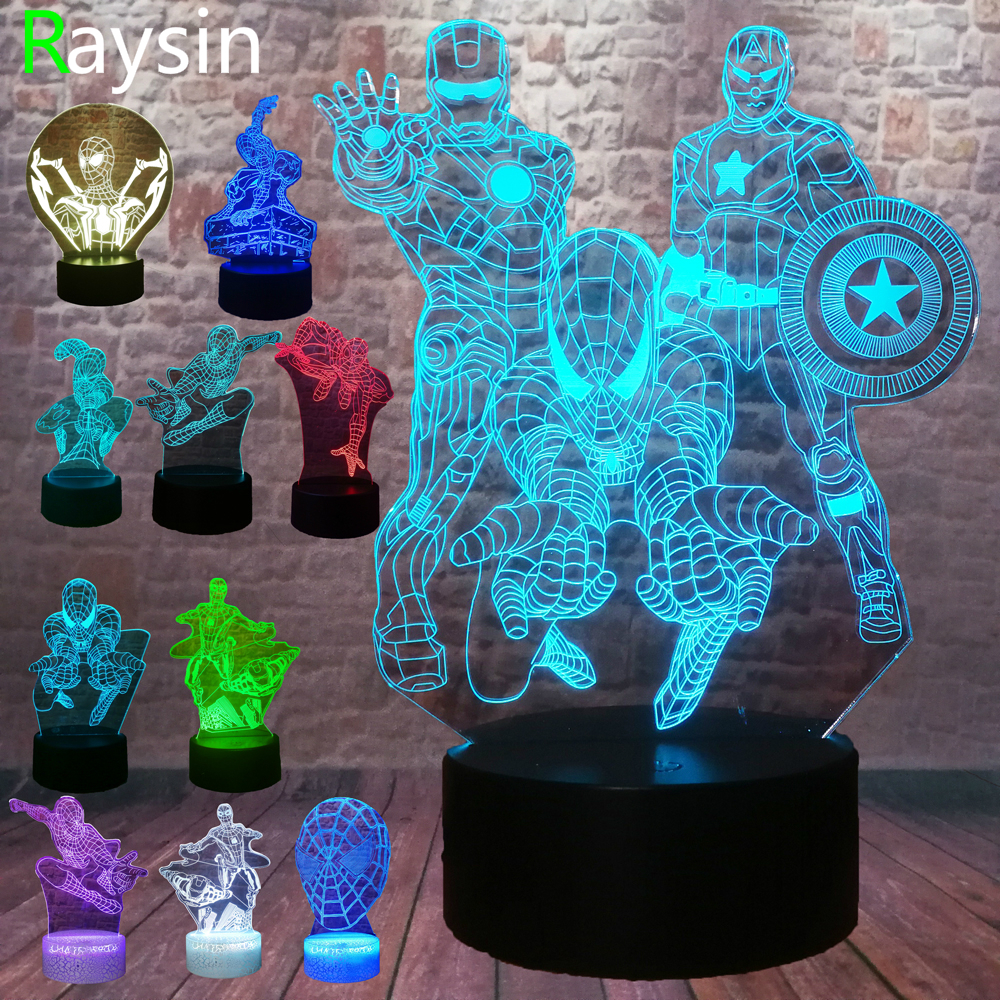 5 Different Superhero Man Figure Spiderman 3D Lamp 7 Color Led Gradient Night Light Kids Lampara Sleeping Creative Festival Gift image