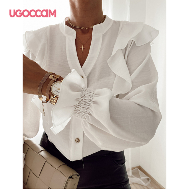 UGOCCAM Women Blouse Office Ladies Sexy Ruched Shirts Autumn Long Sleeve Elegant Casual Solid Shirts Tops Plus Size Tops Ropa Mu 5