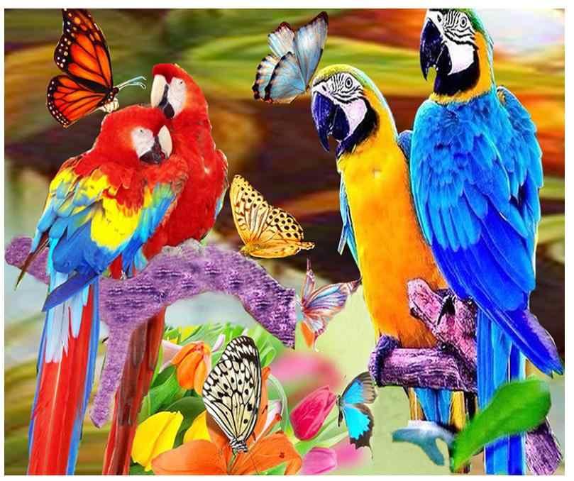 Papugi diamentowe hafty motyle ptaki diamentowe malowanie mozaika ze strasu rysunek obraz puzzli naklejka do wystroju diy