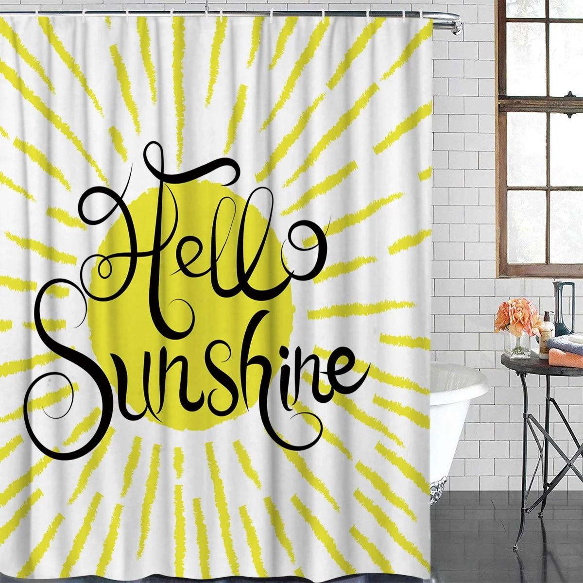 lovely cartoon illustration hello sunshine bathroom shower curtain decor with hooks waterproof
