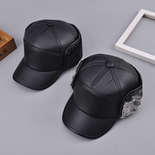 Mens hat PU Leather Winter Warm Fur hats Thermal Hat Trooper gorras russia Mid-year age Earflap Bomber Hats Anti Snow
