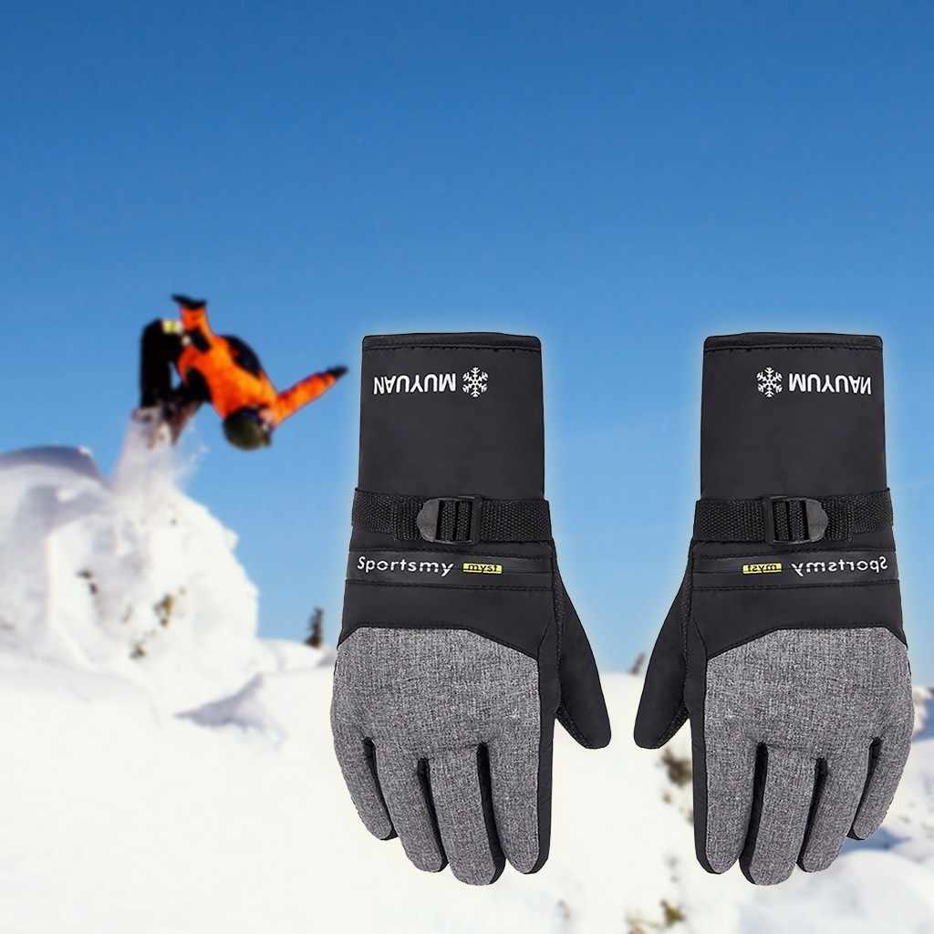 Erkekler kış kayak eldiveni su geçirmez eldiven ile dokunmatik ekran fonksiyonu Snowboard açık motosiklet rüzgar geçirmez kalınlaşmak kayak eldivenleri
