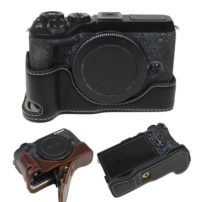 New Design Genuine Leather Camera Case Half Body Cover For Canon EOS M6 II EOSM6 II EOS M6 Mark II EOS M6II