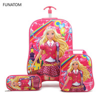 Children 3D Suitcase Child Bag Girl Stair Pull Box Roller Multicolor Suitcase School Backpack with Wheel Trolley Case 5 Colors