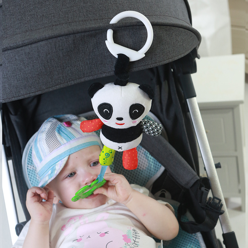 Newborn Stroller Crib Hanging Bear Mobiles Rattles Infant Toys With Teether Baby Kids Rattle Toys Cartoon Panda Plush Hand Bell