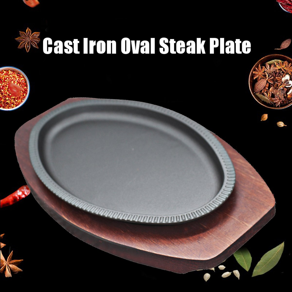 Oval Steak Plate Cast Iron Steak Sizzling Platter Meat BBQ Grill Pan Wooden Tray Base Kitchen Cooking Tools Cookware 22x13cm