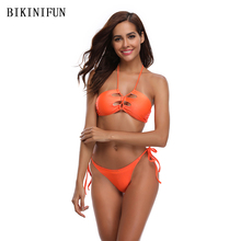 New Sexy Solid Orange Bikini Women Swimsuit Strappy Bandage Swimwear S-XLLow Waist Halter Bathing Suit Girl Backless Set