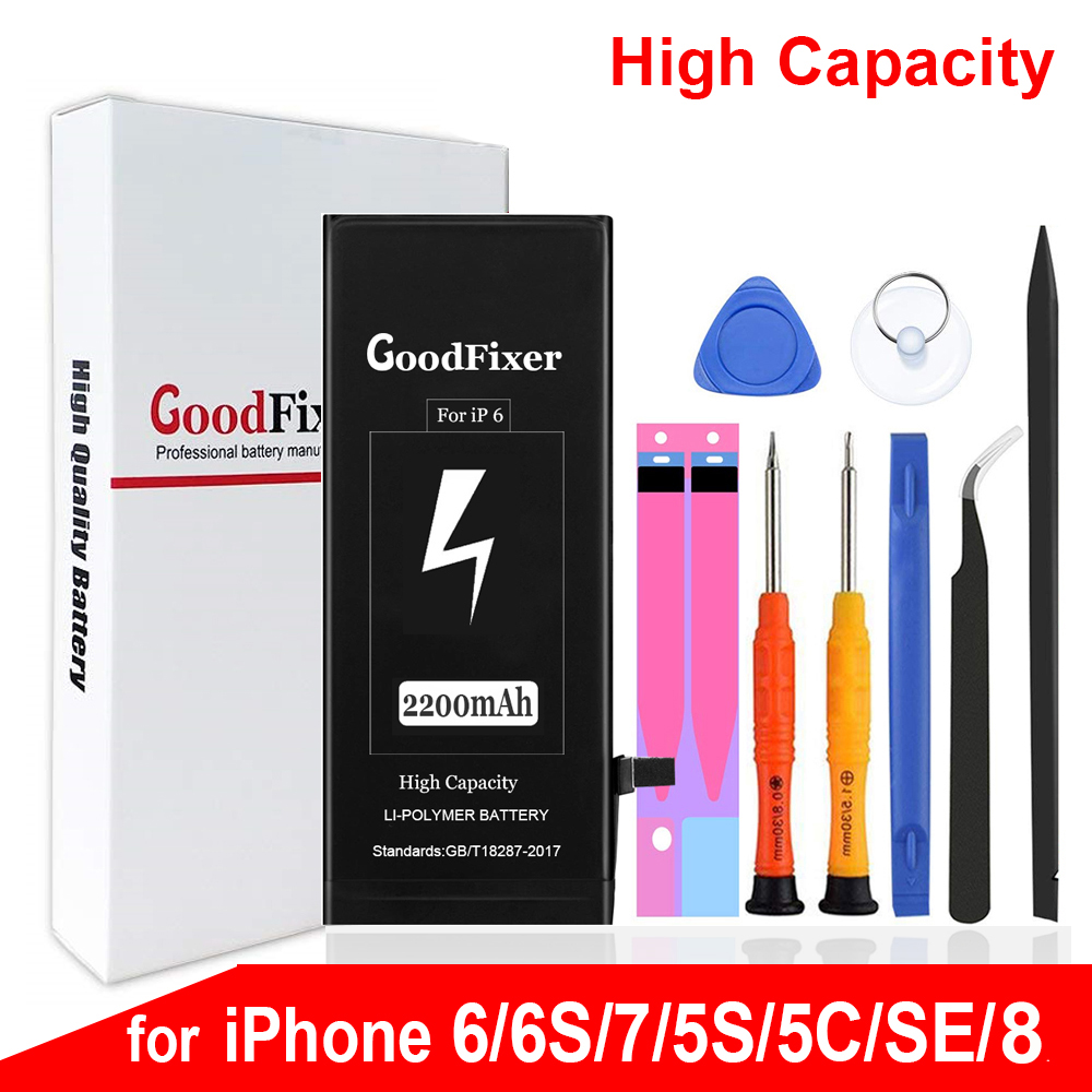 High Capacity Battery For IPhone 6 6S Se 5S 5C 7 8, IPhone6 IPhone6s IPhone5S IPhoneSE IPhone7 IPhone8 Battery Replacement Tools