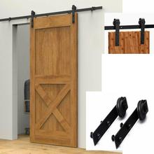 Single Door Sliding Door Rail Pulley Sliding Barn Door Hardware Kit Top Mounted Hanger Track Black Steel Closet Door Roller Rail 8ft 16ft new style indoor big wheel antique black roller steel track barn wood sliding double door hardware rail set