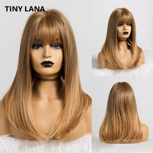 Image 3 - TINY LANA Long Wave Women Wigs with Bangs Ombre Brown Blonde High Temperature Fiber Synthetic Wigs for Black White Women Cosplay