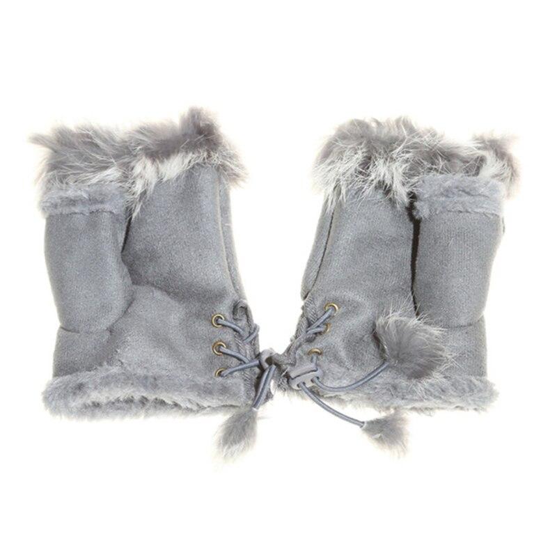 GAOKE Cute Plush/Suede Leather Gloves Faux Rabbit Hair Wrist Fingerless Mittens For Women High Quality Half Finger Female Mitten