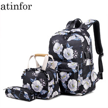 atinfor Brand 3pcs/set Waterproof Women Set Backpack for Teenagers with Lunch Box Bags Flower Print Student Laptop Bag