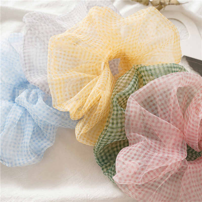 Women Thin Plaid Net Yarn Scrunchie Girls New Fashion Rubber Band Summer Elastic Hair Scrunchies Ponytail Hair Accessories