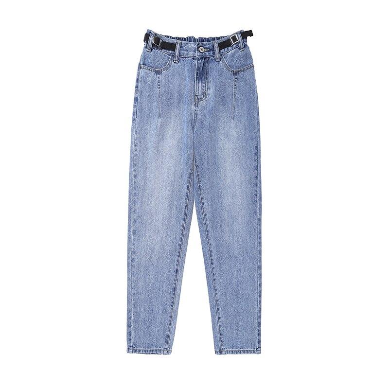 Baggy Street Clothing Lady Blue Jeans Fashion Lady Mom Jeans Trousers Pocket Zipper Daddy pants Women's Korean Harem Pants