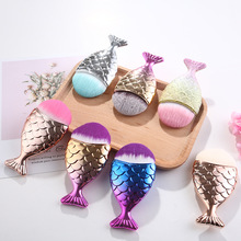 Colorful Mermaid Makeup Brush 3 Pcs Foundation Brushes Golden Fish Face Care Tool Shape Cosmetic Bronzer