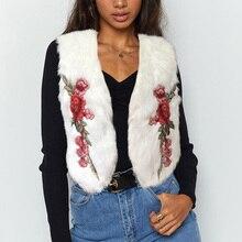 ALLNeon Embroidery V-Neck Open Stitch Faux Fur Women Vest Sleeveless Cropping Slim Tops Shaggy Winter Warm Ladies Fur Coats все цены