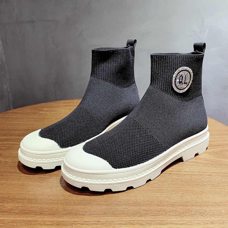 Yeni Kadın Klasik yarım çizmeler 2019 Sonbahar Bayanlar Çorap Ayakkabı Nefes Yüksek Üst Sneakers Düz Topuklu Ayakkabılar Kadın Platformu Botları