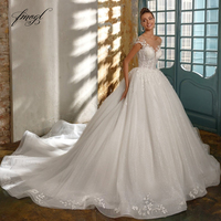 Fmogl Sexy Backless Beaded Lace Ball Gown Wedding Dresses 2020 Luxury Cap Sleeve Appliques Chapel Train Vintage Bridal Gowns
