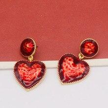 Fashion Parts Jewelry Heart of Bleeding Punk Gold Geometric round Enamel Red Heart-Shaped Drop Ear Dangle Earrings For Women
