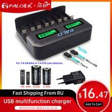 Зарядное устройство PALO 1,2 В AA AAA C D размера, NiMH с ЖК дисплеем для аккумуляторных батарей AA aaa для электронных сигарет, зарядное устройство
