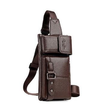 Luxury Brand PU Leather Sport Waist Bag for Men Light Belt Bags Man Phone