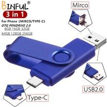BiNFUL Für Android OTG 3 in 1 USB-Sticks Typ-C & Micro 512GB 256GB 128GB 64GB 32GB 16GB Sticks Stick Cle Für Telefon