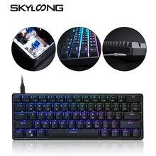Оптическая клавиатура SKYLOONG GK61, проводная игровая механическая клавиатура с RGB подсветкой и колпачками для клавиш, подходит для iPad, планшето...