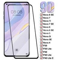 9D Anti-Explosión de vidrio templado para Huawei P30 P40 Lite E Protector de pantalla Nova 8 7 6 SE 7i 5 5i 5T 4 4E 3 3E película de vidrio