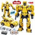 1124 шт город механический Hornet Робот строительные блоки техника RC дистанционное управление деформация автомобиля Кирпичи игрушки для мальчи...
