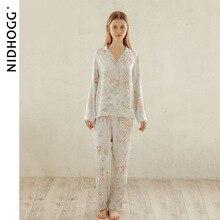Summer Tribute Satin Flower Printing Pajamas Sweet Long sleeved Sleepwear Loungewear Women Turn down Collar Pyjamas Home Clothes
