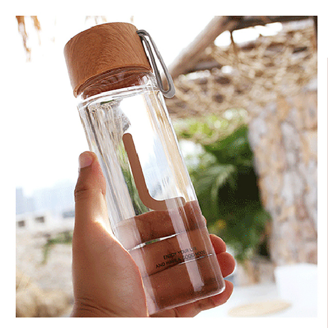 Wood Grain Color Glass Water Bottle With Rope High Borosilicate Glass Water Bottles Leakproof For Sports Ofiice 1