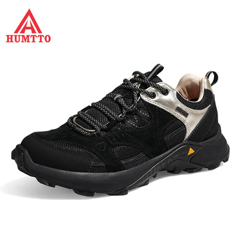 Humtto Cushioning Running Shoes Men Genuine Leather Light Jogging Sneakers Male Comfortable Lace-up Outdoor Walking Sport Mens