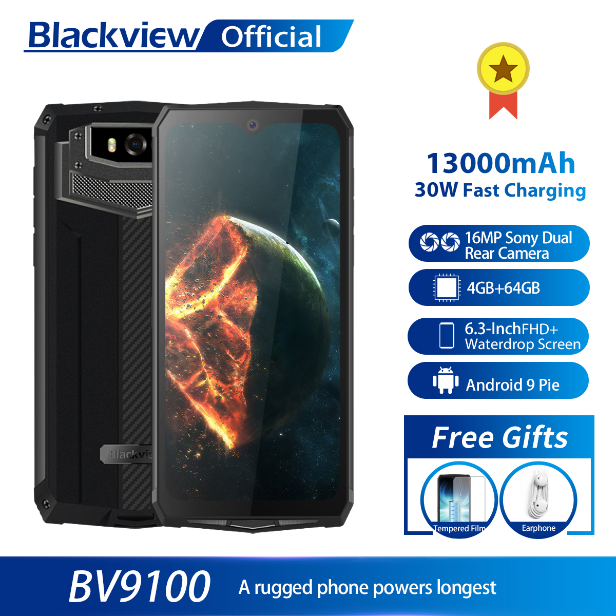 Blackview BV9100 IP68 Waterproof Cellphone 13000mAH 30W Fast Charging 4G Mobile Phone MT6765 4GB+64GB 16.0MP Rugged Smartphone