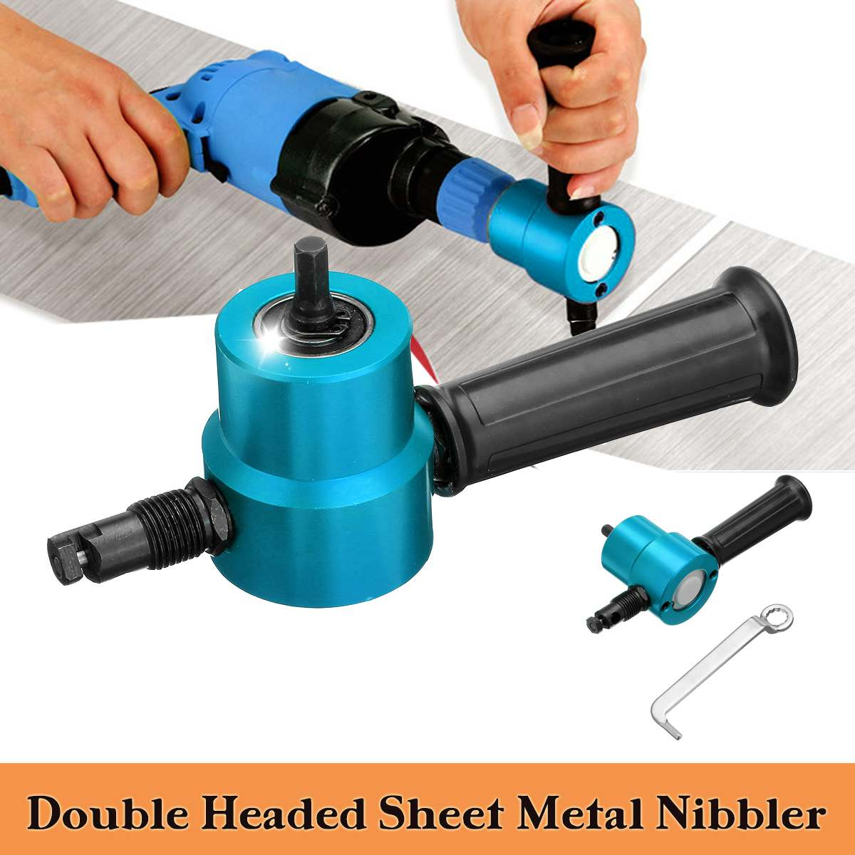 Double Headed Sheet Metal Cutting Nibbler Metal Saw Cutter 360 Degree Adjustable Drill Attachment With Wrench