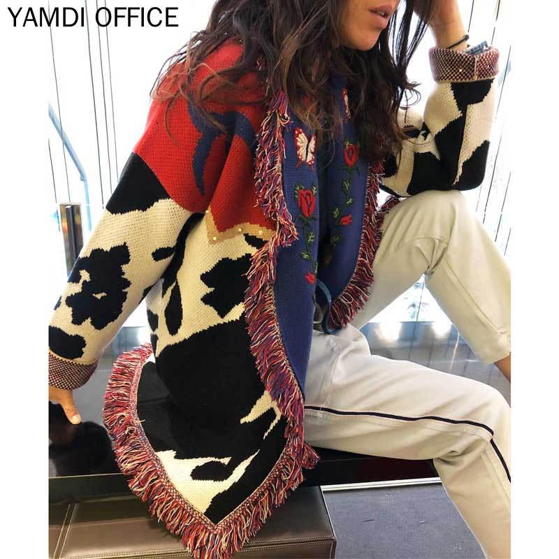Yamdi outono inverno cardigan camisola feminina algodão
