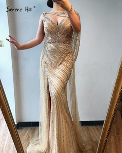 Image 5 - Serene Hill  Gold Silver  V neck Sexy Evening Dresses 2020 Beading Sleeveless Split Mermaid Evening Gowns Real Photo DLA70301