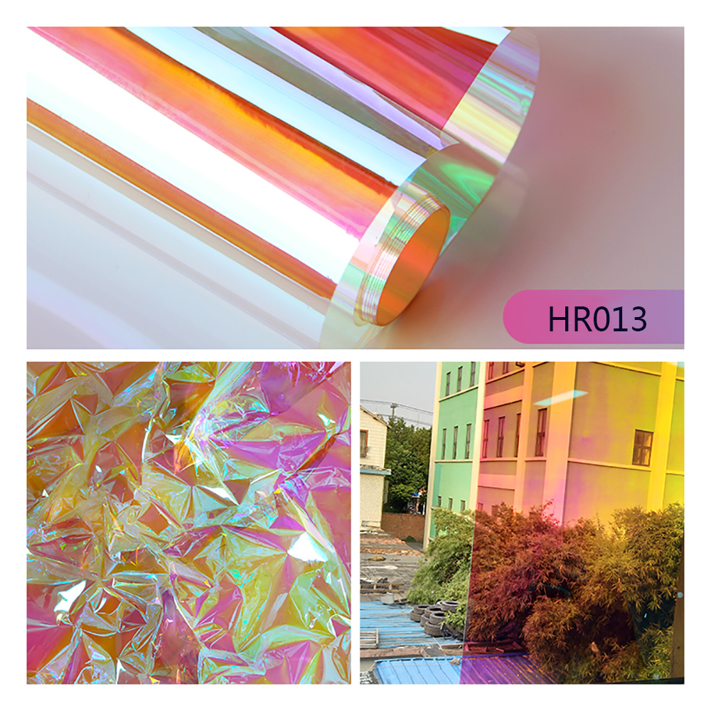 SUNICE Dichroic Iridescent Glass Tinting Window Sticker Glass Film Transparent Colored Film Christmas Party Festival DIY Decor - 4