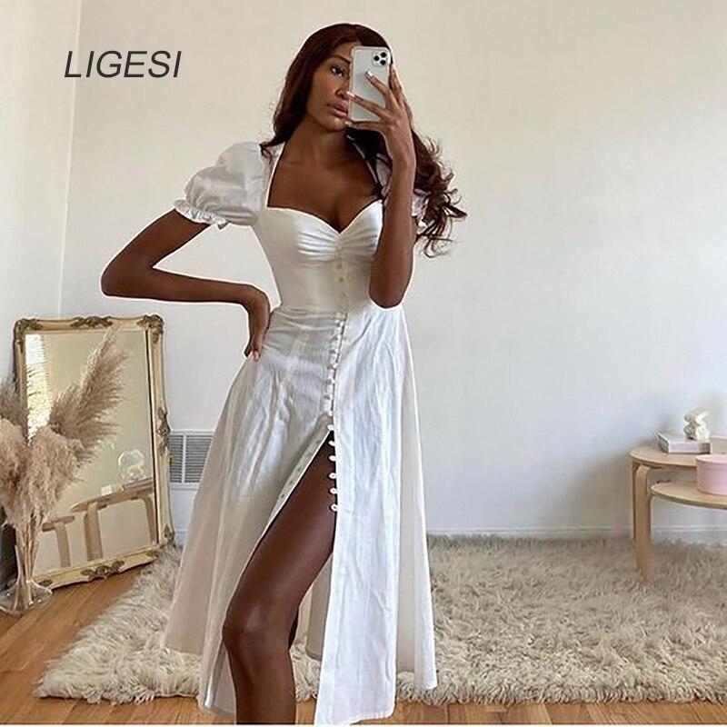 Boat Neck Short Puff Sleeve Sexy Dress Women White Dresses Summer Midi Party Dress Nightclub Short Dress Vestidos