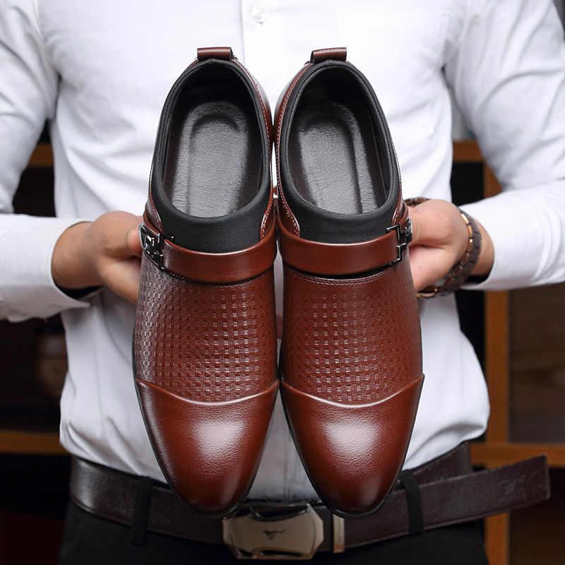 รองเท้าผู้ชายพลัสขนาด 45-48 ลายสก๊อตสบายรองเท้าหนัง SLIP บนหัวเข็มขัดรองเท้า Man SOLID