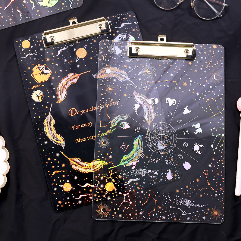 Fantasy Starry acrylic bronzing plate clip transparent A4 student hard plastic writing board stationery folder in File Folder from Office School Supplies