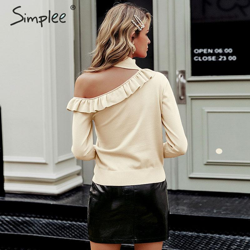 Image 2 - Simplee Sexy halter knitted sweater women jumper winter Hollow out ruffled lady sweater Long sleeve female jumper pull femmePullovers   -