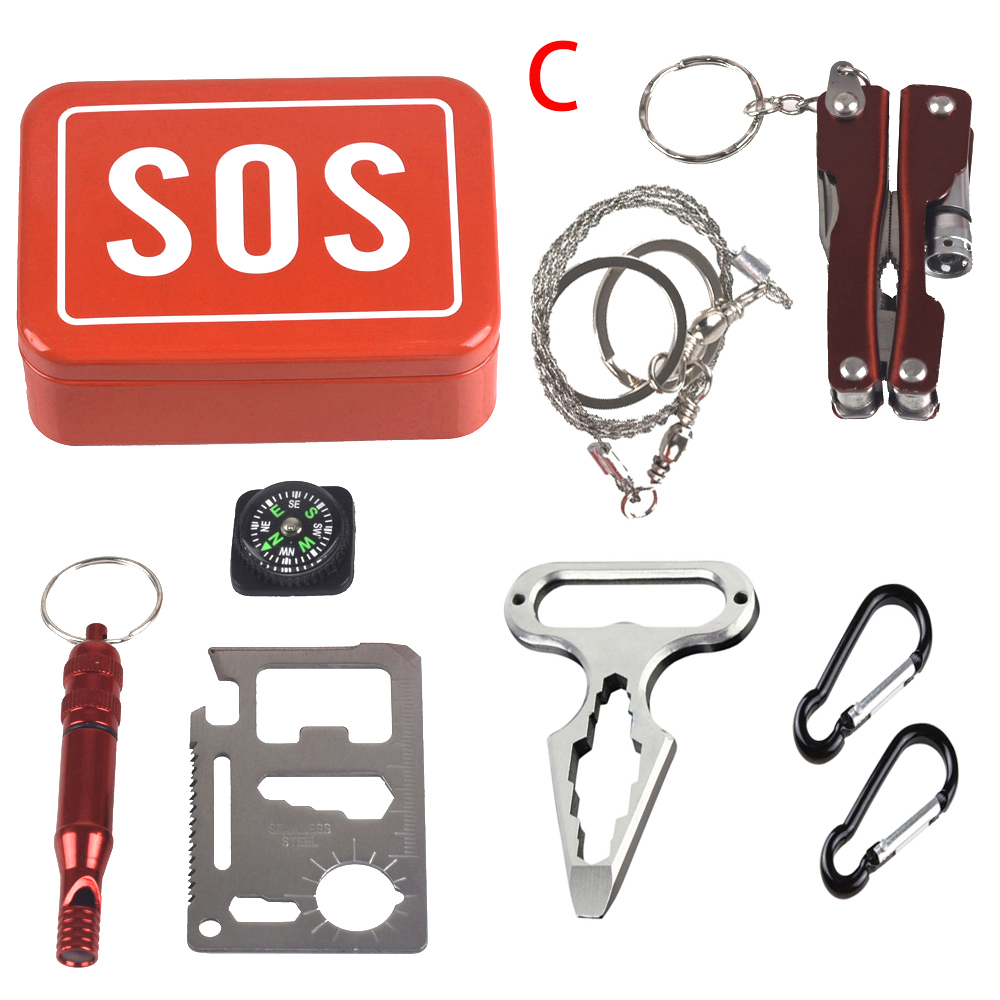 Outdoor Emergency Survival Kit Camping Equipment Box Self-help Box SOS For Camping Hiking Saw Whistle Compass Tools