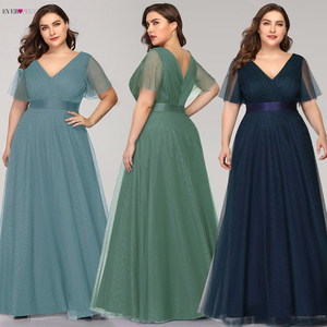 Long Bridesmaid Dresses Plus Size Ever Pretty Elegant A Line V Neck Short Sleeve Burgundy Dress For Wedding Party Guest Vestidos