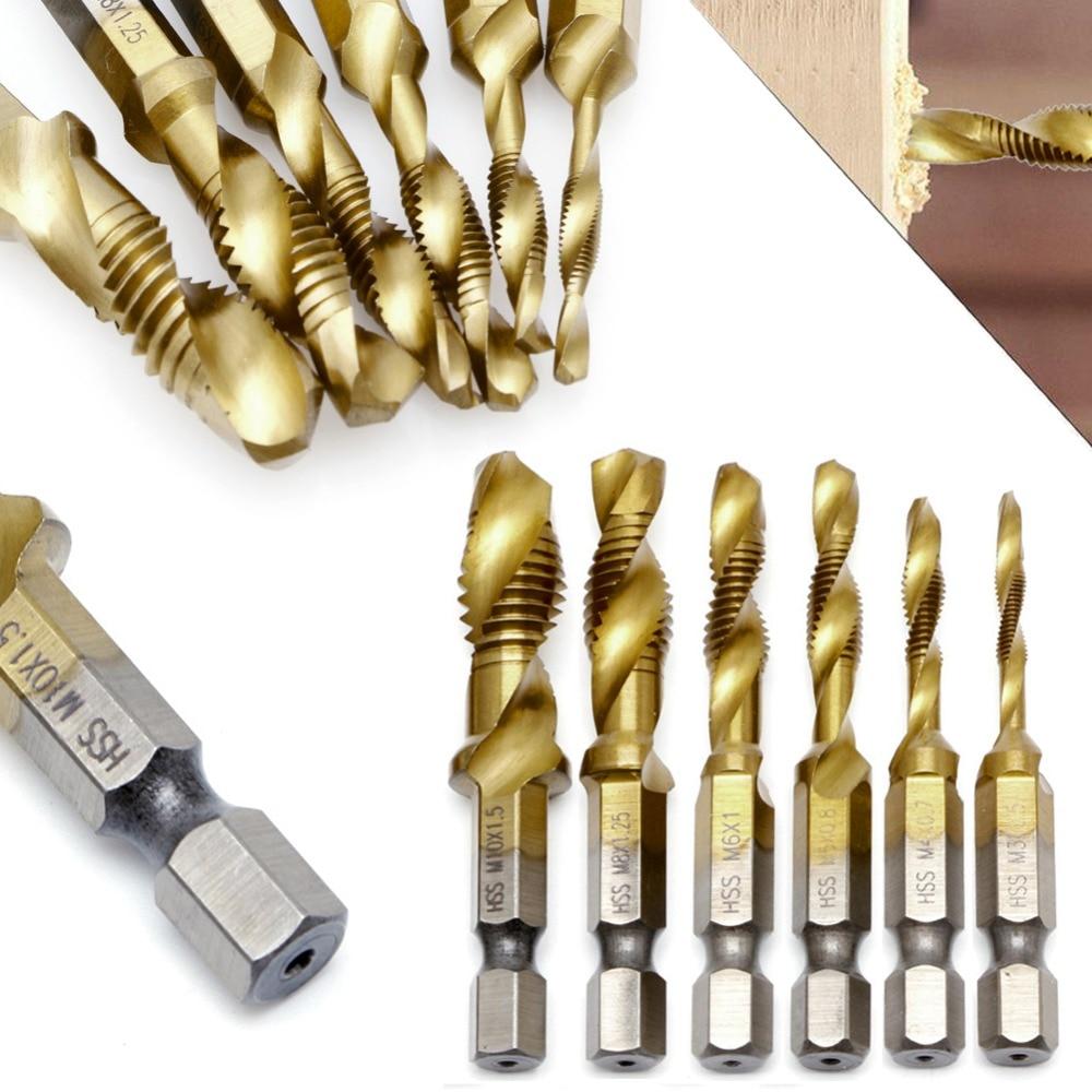 1PC M3-M10 Hex Shank Titanium Plated HSS Hand Screw Thread Metric Tap Drill Bits